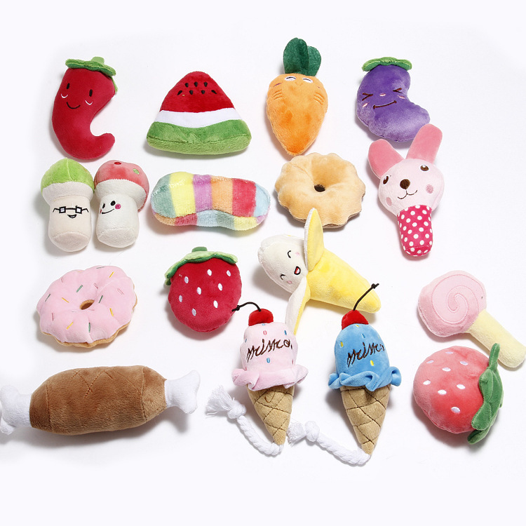1pc Plush Squeaky Bone Dog Toys Animals Cartoon Puppy Training Toy Soft Banana Carrot And Vegetable Pet Supplies(China)
