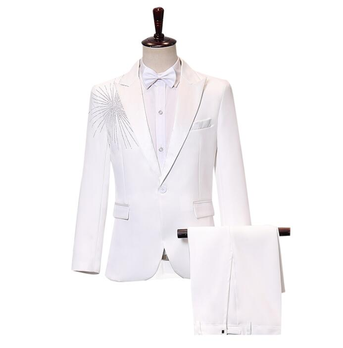 White Sequins Blazer Men Groom Suit Set With Pants Mens Wedding Suits Singer Star Style Dance Stage Clothing Formal Dress B343