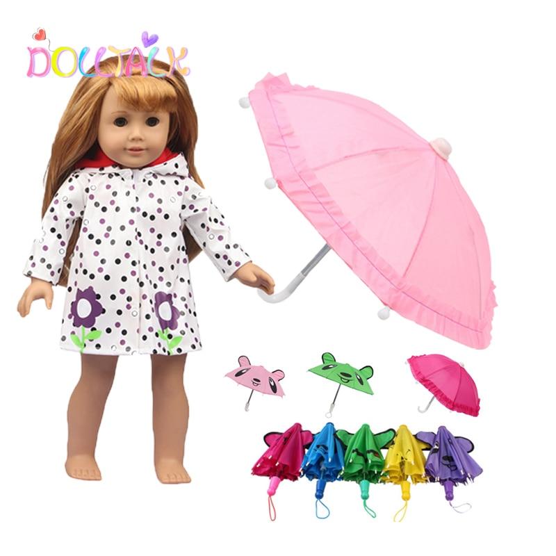 Doll Accessories 18'' American Cute Girl Doll Bear Ear Sun Mini Umbrella Raincoat Clothes For 43cm New Baby Born Dolls