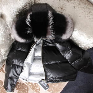Image 2 - Куртка женская с воротником из натурального лисьего меха
