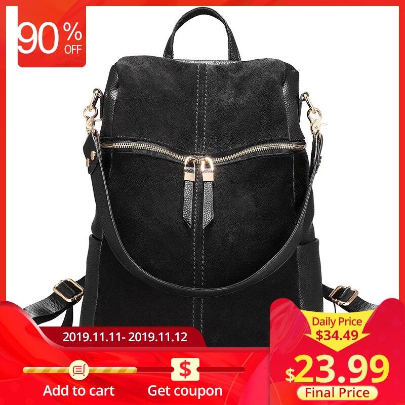 Lovevook mochila feminina de couro genuíno sacos de escola para meninas adolescentes mochila feminina sacos de ombro para as mulheres 2019 preto