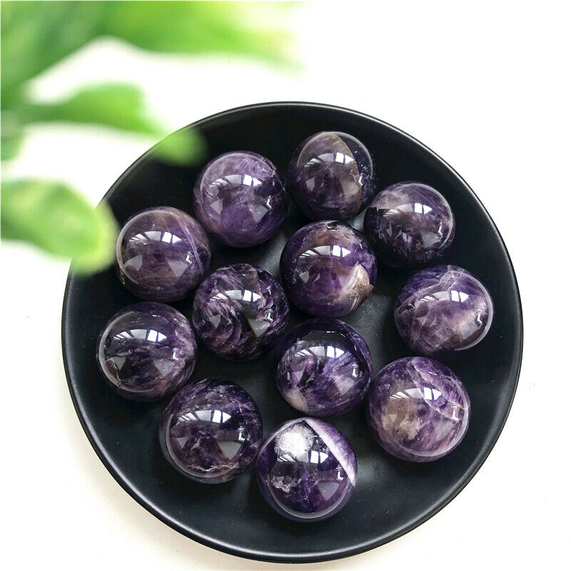 26-28mm Natural Dream Amethyst Crystal Sphere Ball Orb Gem Stone Healing Sphere Stand Wholesale