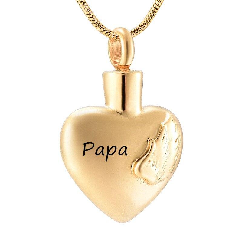 Pendentif souvenir commémoratif pour les proches couleur or acier inoxydable coeur crémation urne collier pour cendres urne bijoux