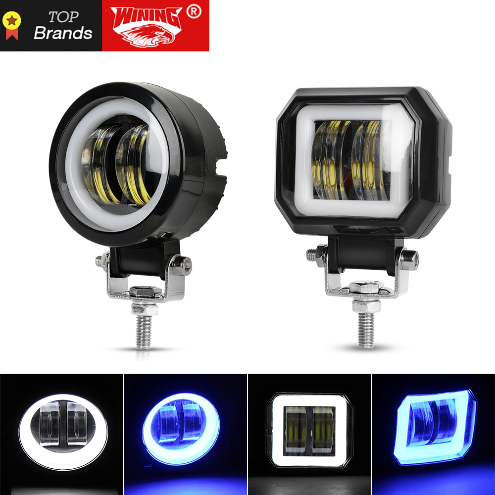 WINING 20W LED Driving Work Light for Trucks Off road Racing Lights Motorcycle led Spotlight Flood light amber Fog lamps image