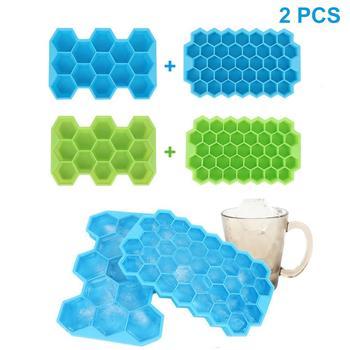 2 sztuk miękkiego silikonu tacki na kostki lodu 13-kostki i 37-Cube o strukturze plastra miodu lodu forma kostki z pokrywką do whisky tanie i dobre opinie Lody wanny ice mold Lody narzędzia Silikonowe ice cube mold ice cube tray ice trays Blind Dropshipping CSV Orders