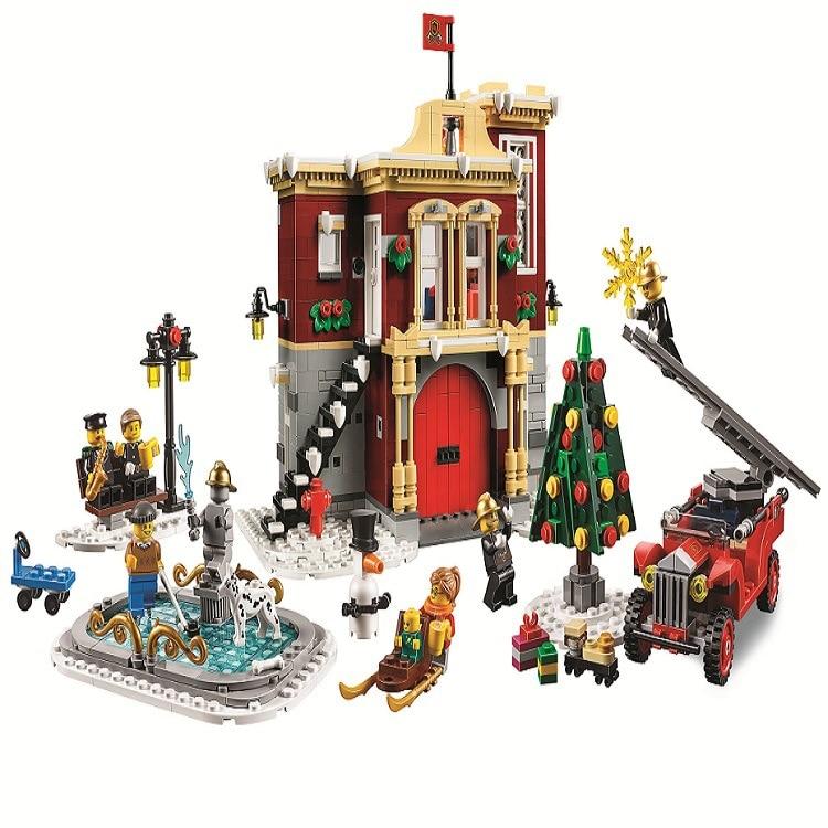 1197pcs New Holiday Winter Village Fire Station 11041 DIY Model Building Kit Blocks Gifts Boys Bricks Compatible With Legoinglys
