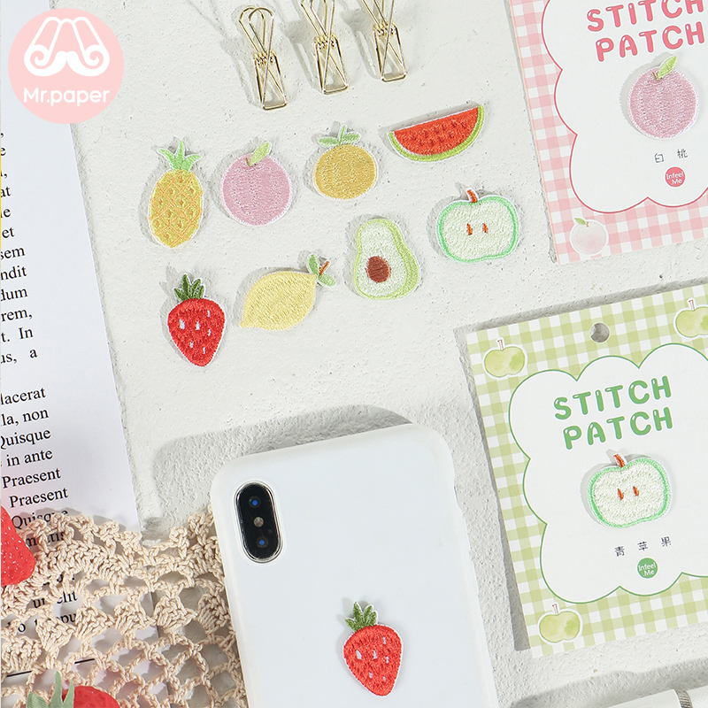 Mr.Paper 9 Designs Kawaii Fruits Strawberry Watermelon Pineapple Peach Stitch Patch Sticker DIY Clothes Bag Deco Fabric Stickers