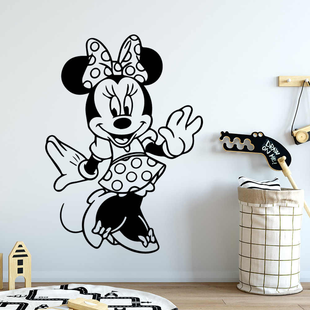 Famille Minnie Mouse mur Art décalcomanie décoration mode autocollant vinyle autocollants décoration de la maison papier peint