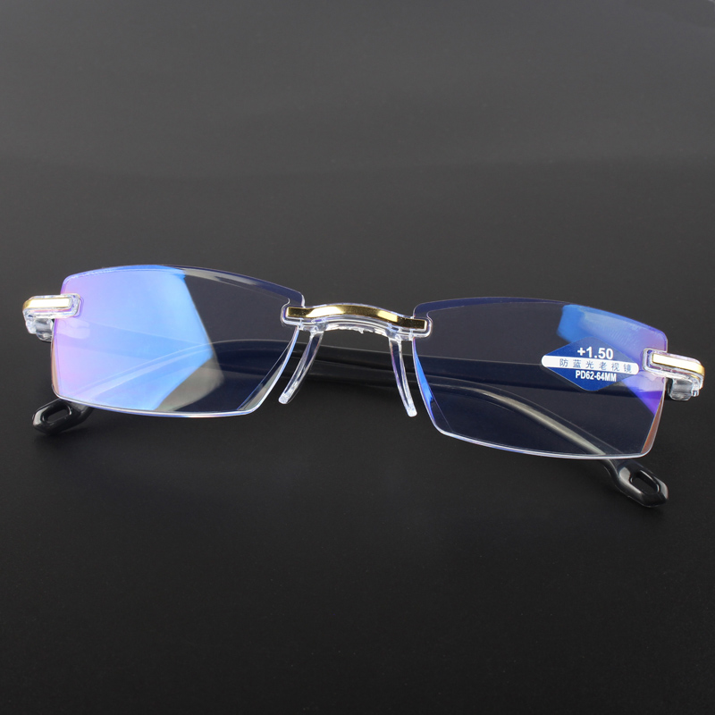 New Anti Blue Ray Reading Glasses Men Women Rimless Cutting Presbyopia Eyewear for Ladies Blue Light Glasses