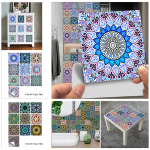 10pcs/set Colorful Mandala Pattern Crystal Hard Tiles Wall Sticker Kitchen Floor Home Renovation Art Mural Removable Wall Decals