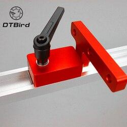 Ze stopu Aluminium ze stopu Aluminium T tory prowadnica ukośna Jig oprawa T Slot  aby śledzić zatrzymaj się na Carpenter instrukcja routera tabeli narzędzia do obróbki drewna w Zestawy narzędzi ręcznych od Narzędzia na