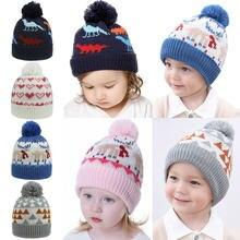 Рождественская Детская шапка теплая вязаная с мультяшным рисунком