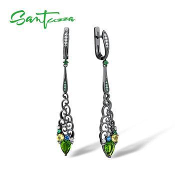 SANTUZZA 925 Sterling Silver Earrings Jewelry Earrings For Women Colourful Stones 925 Sterling Silver Party Fine Jewelry