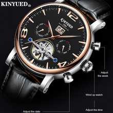 цена KINYUED Men's Classic Openwork Waterproof Mechanical Watch Weekly Display Calendar Automatic Watches Free Shipping  Men`s онлайн в 2017 году