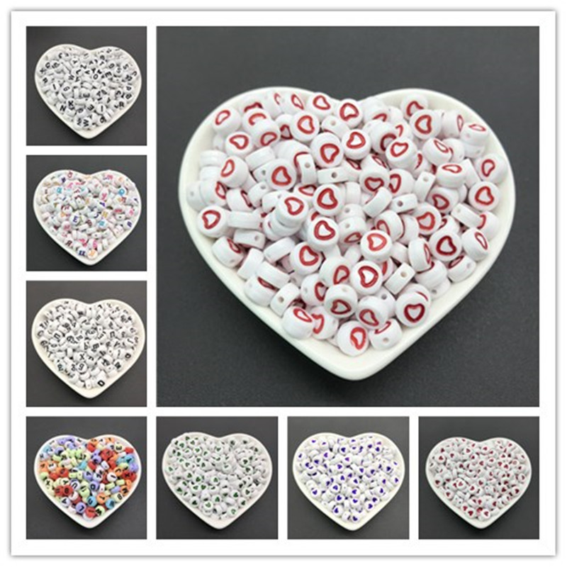 100Pcs 4x7mm Heart-shaped Acrylic Flat Round English Letters Russian Letter Beads For Jewelry Making DIY Bracelet necklace(China)