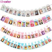 Marco de fotos de feliz cumpleaños Banner decoraciones para fiesta de cumpleaños niños 1er 12 meses primer bebé niño niña My 1 año suministros