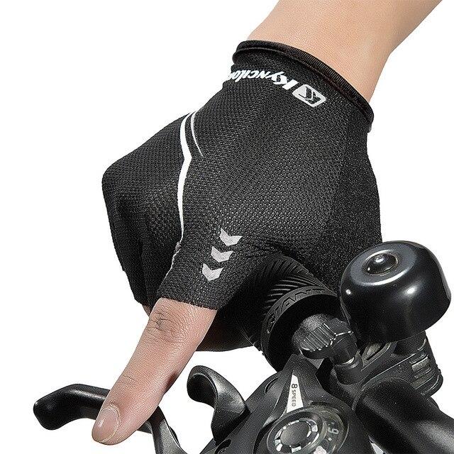 Luvas para ciclismo mtb, luvas para bicicleta sem dedos respiráveis com absorção de impacto para esportes 6