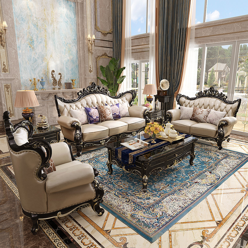 ProCARE Villa European-Style Sofa Set Of The Ebony Large Size Living Room American-Style Solid Wood Varved Furniture Leather