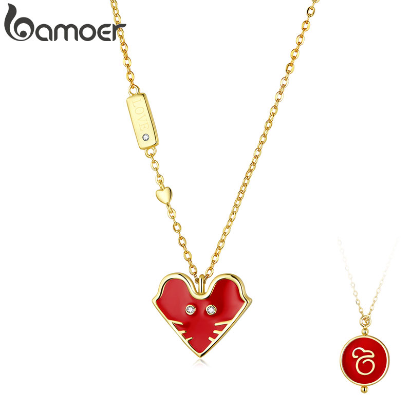 Bamoer Genuine 925 Sterling Silver Red Enamel Mouse Pendant Necklace For Women Chinese Spring Festival Design Jewelry SCN389