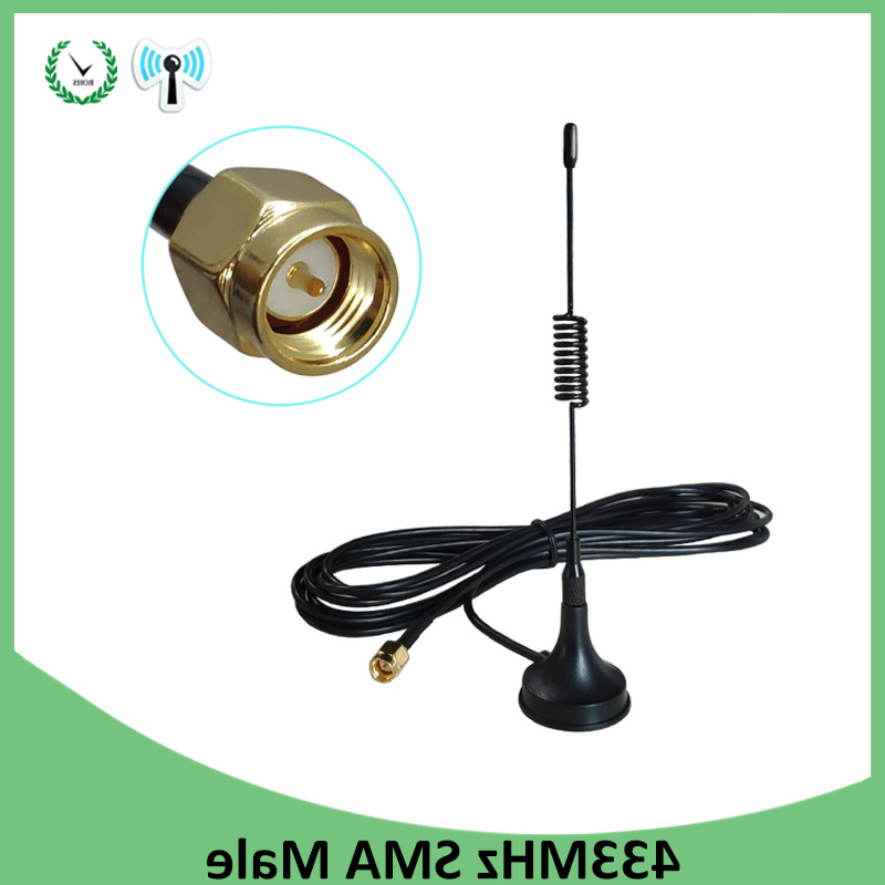 10pcs 5dbi 433Mhz <font><b>Antenna</b></font> <font><b>433</b></font> <font><b>MHz</b></font> antena GSM SMA Male Connector with Magnetic base for Radio Signal Booster Wireless Repeater image