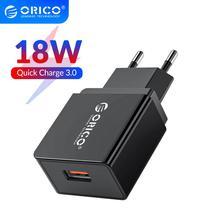 ORICO QC3.0 USB Charger 18W USB EU Plug Quick Chargeสำหรับโทรศัพท์สำหรับHuawei Mate 30แท็บเล็ตแบบพกพาผนังชาร์จมือถือ