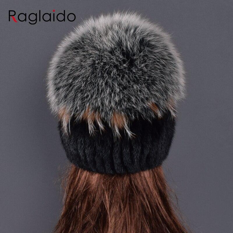 Sombrero de piel de visón de alta calidad para mujeres sombreros de piel de visón natural con pompones grandes de lujo de piel de zorro las mujeres de dama ir - 2