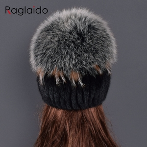 Image 2 - high quality Mink Fur hat for women natural Mink Fur Hats with Luxury Big Pompom Fox Fur Ball Beanies winter womens cap lady go