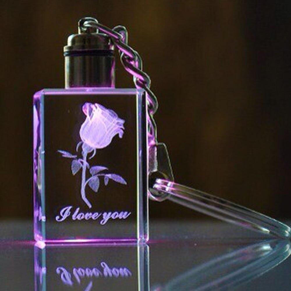 Настраиваемый 3D лазерный Кристальный брелок для ключей с гравировкой для персонализированных подарков (по умолчанию синий светодиод)
