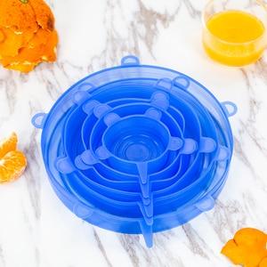 Image 5 - Couvercles de cuisine universels, extensibles, pour Pot, 6 pièces, bouchons de cuisine, extensibles, réutilisables