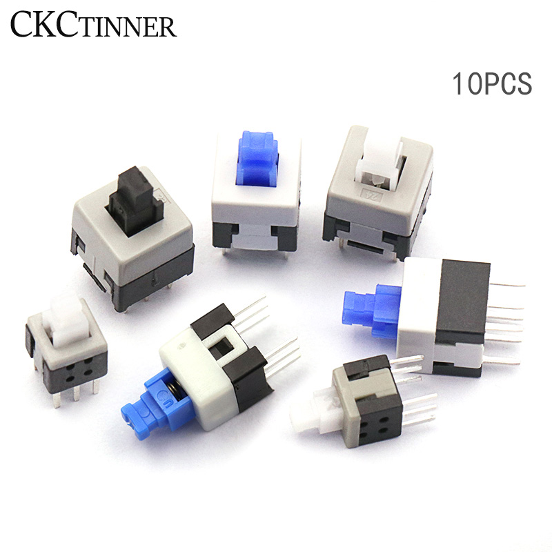 10PCS/LOT 5.8*5.8 7*7 8*8 8.5*8.5mm Self Locking Push Tactile Power Micro Switch Kit 6 Pin Button Switches