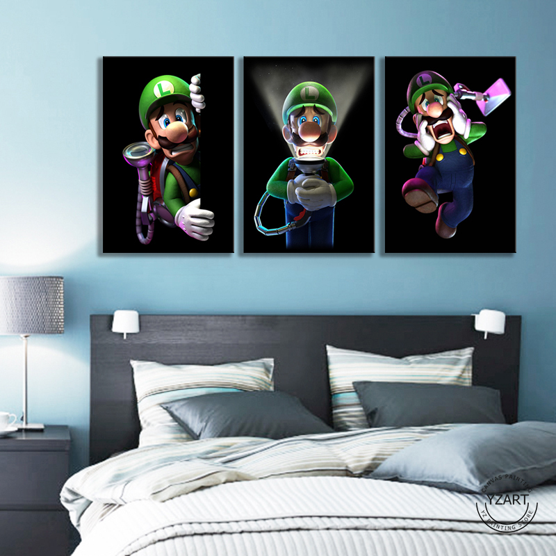 3 Panels Mario Bros Luigis Cartoon Pictures Wall Paintings Bedroom Decor Luigis Mansion 3 Video Games Art Wall Decor Painting 2
