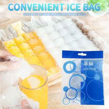 Disposable Ice Cube Maker Bags DIY PE Bag For Ice Lattice Kitchen Accessoires Summer Ice Cube Tray Mold 24 grids 10PCs image