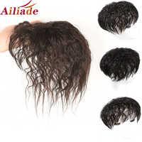 AILIADE-Peluca de pelo humano con flequillo, aumenta la cantidad de cabello en la parte superior de la cabeza para cubrir el cabello blanco