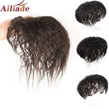 Ailiade peruca de topper de cabelo humano com franja aumentar a quantidade de cabelo na parte superior da cabeça para cobrir o cabelo branco hairpiece