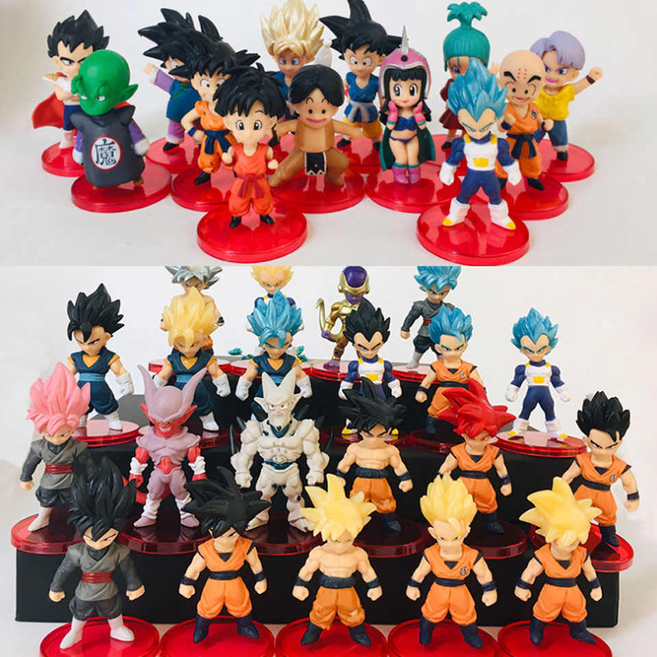 21 pçs/lote Dragon Ball Super Saiyan Deus Vegetto Action Figure Son Goku Vegeta Frieza Zamasu Super Brinquedo Modelo de Instinto