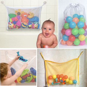 1pcs 37*37 cm Baby Bathroom Mesh Bag Child Bath Toy Bag Net Suction Cup Baskets(China)