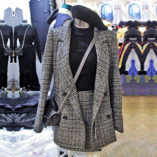 2019 חורף נשים חליפות משרד משובץ טוויד ארוך שרוול מעיל מעיל בליזר הלבשה עליונה + אופנה מיני חצאית חליפת 2 חתיכה סט Vestidos