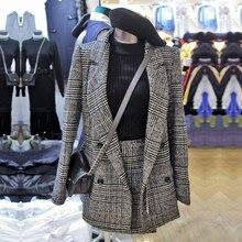 Veste à manches longues en Tweed à carreaux pour femme, costume hiver 2019 + Mini jupe, ensemble de 2 pièces, bureau, Blazer extérieur