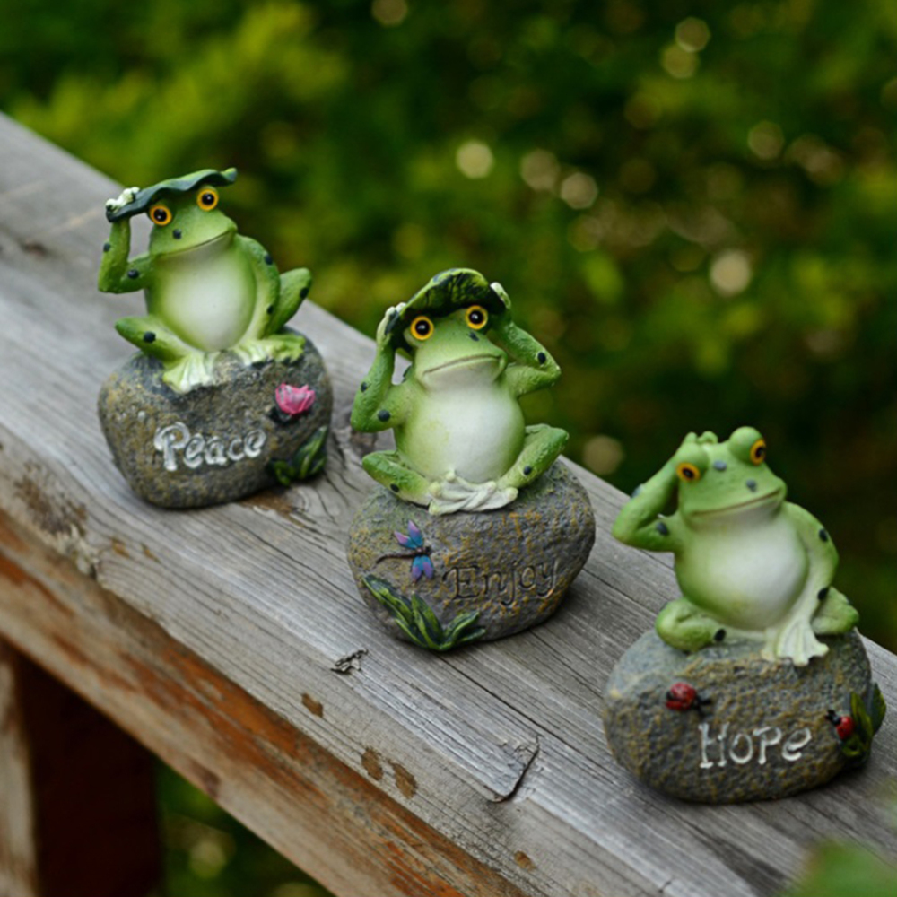3 Pcs Frog Garden Statues Frogs Small lovely Decorations Sitting ...