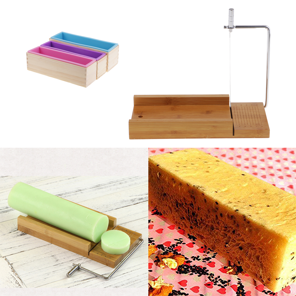 3Pcs Wooden Box, Silicone Soap Loaf Mold Pink and 1Pcs Soap Cutter Wire Slicer, for DIY Soap/Cake/Chocolate Making Tools