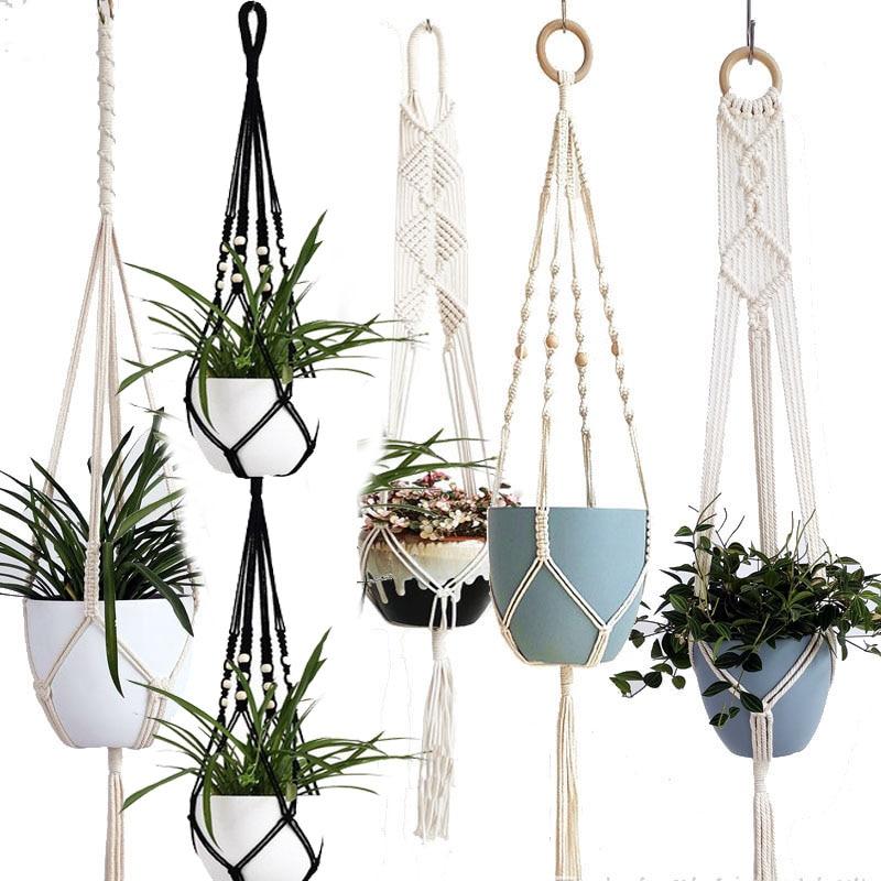 Plateau de pot de fleur/pot de cintre de plante de macramé fait main pour le pays de décoration de mur/plateau de pot de jardin pour l'usine