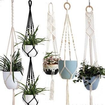 handmade macrame plant hanger flower /pot hanger pot tray for wall decoration countyard /garden pot tray for plant Garden Pots & Planters