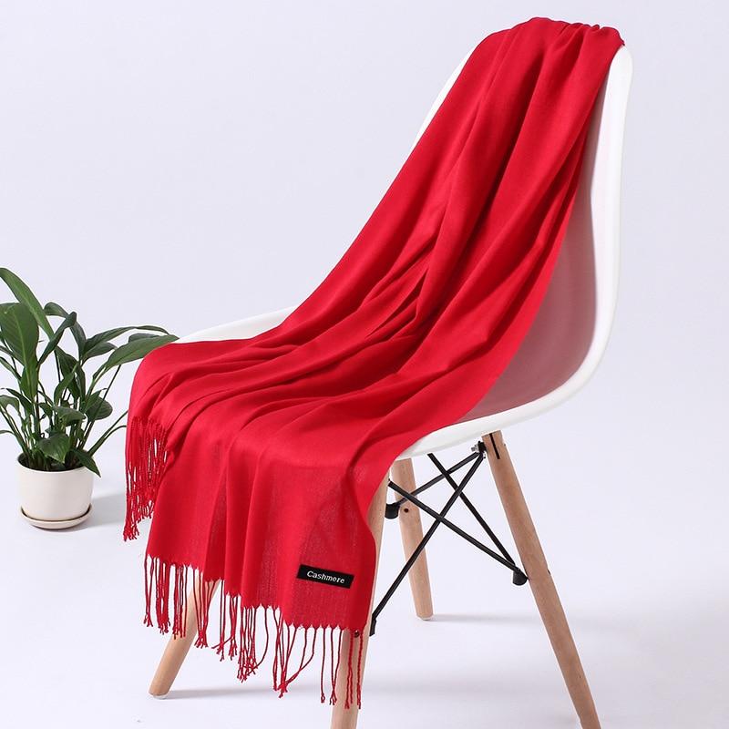 Однотонный кашемировый шарф для женщин новые длинные мягкие шали и палантины пашмины модные хиджаб с кисточками женские шейные шарфы - Цвет: 110g red