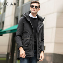 UCAK Brand Grey Goose Down Jackets Male Long Fashion Stylish Pockets Hooded Modern Casual 2019 Winter Men Clothing Jacket U8026