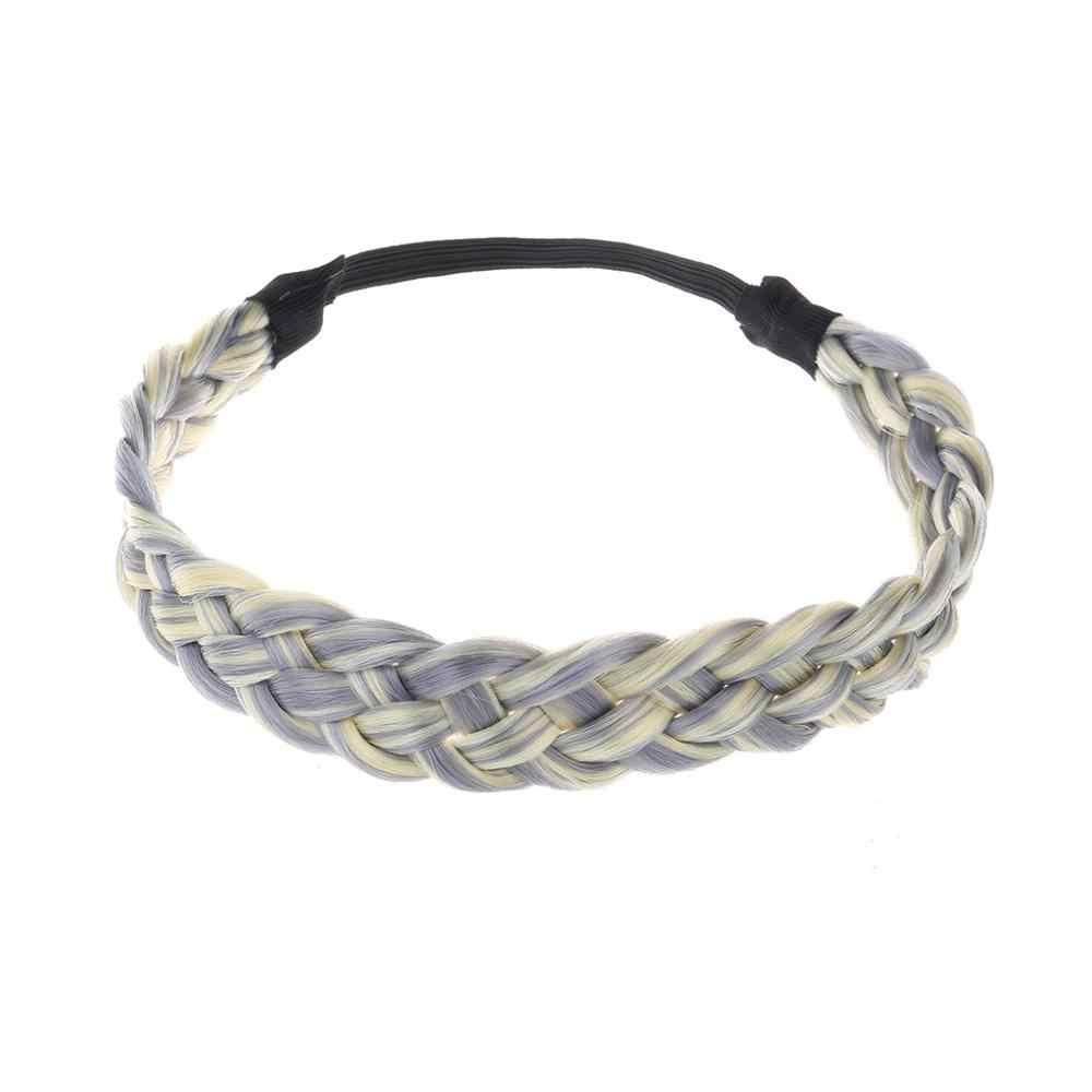 3.5 Cm Breed Synthetische Pruik Twist Elastische Haarband Vlecht Bohemian Braid Hoofdband Voor Vrouwen Fd