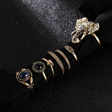 7 Pcs/set Bohemian Retro Gold Geometric Elephant Rings For Women Vintage Metal Alloy Acrylic Rhinestone Ring Set Wedding Jewelry