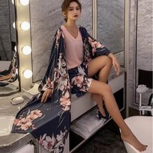 Women's 4-piece Cotton-satin Pajamas Set Floral Print