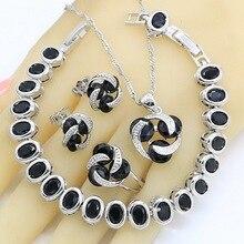 цена на 925 Silver Jewelry Sets for Women Black Zircon Earrings Rings Necklace Pendant Zircon Bracelet Gift Box