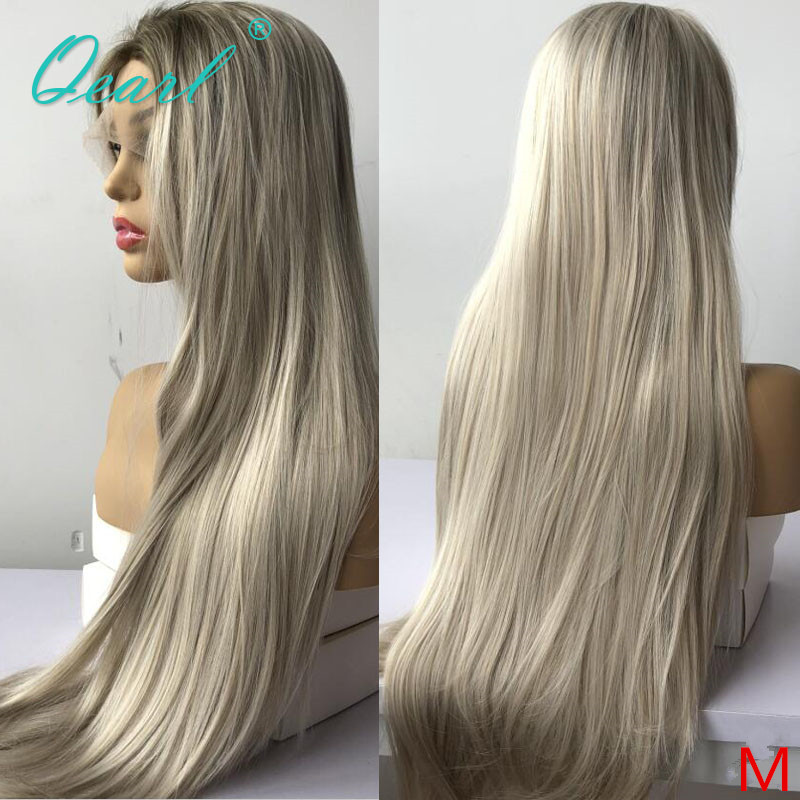 Długie włosy ludzkie peruka na koronce Ombre jasny blond peruka dla kobiet prosto Preplucked wolna część Remy włosy 150% 180% Qearl
