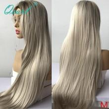 Qearl peluca larga de cabello humano con encaje para mujer, Rubio ombré claro, liso, prearrancado, pieza libre, cabello Remy 150%